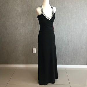 MORGAN & CO Halter Gown Jeweled Neckline